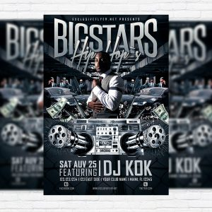 Bigstars Hip Hop`s - Premium Flyer Template + Facebook Cover