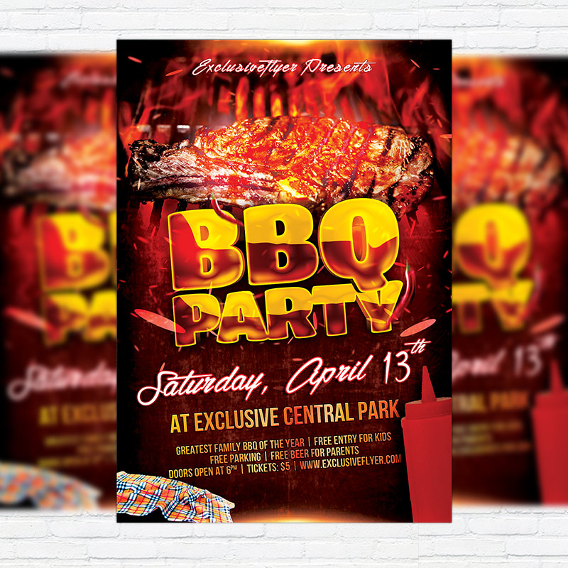 Bbq Party – Premium Flyer Template + Facebook Cover