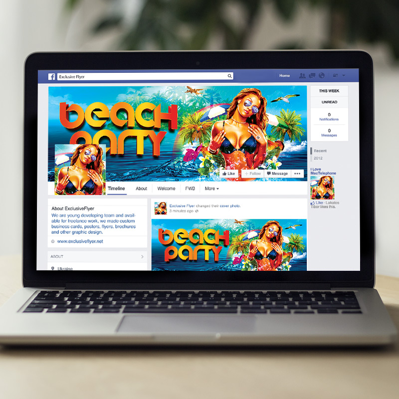 Beach Party – Premium Flyer Template + Facebook Cover