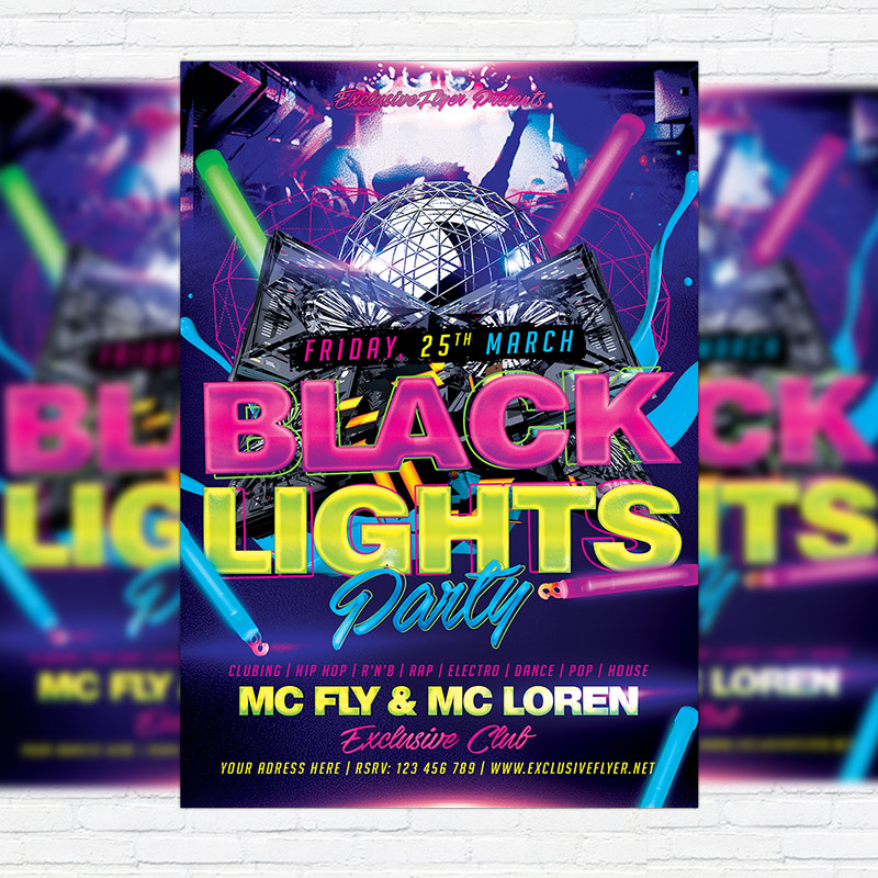 Black Light Party Premium Flyer Template Facebook Cover