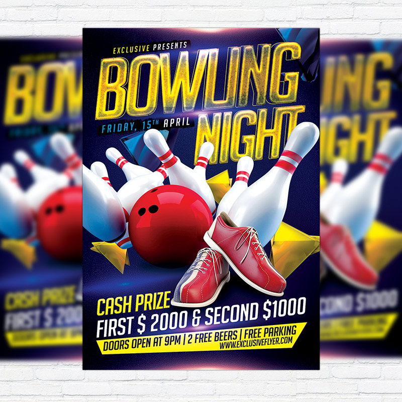 Bowling Night  Premium Flyer Template  Facebook Cover