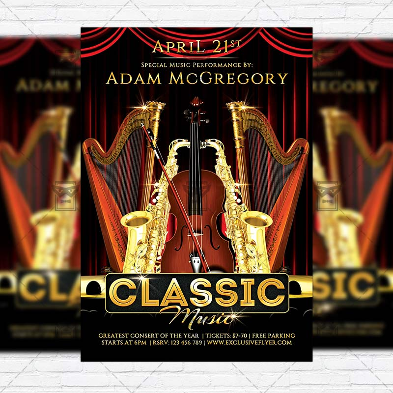 classic music  u2013 premium flyer template   facebook cover