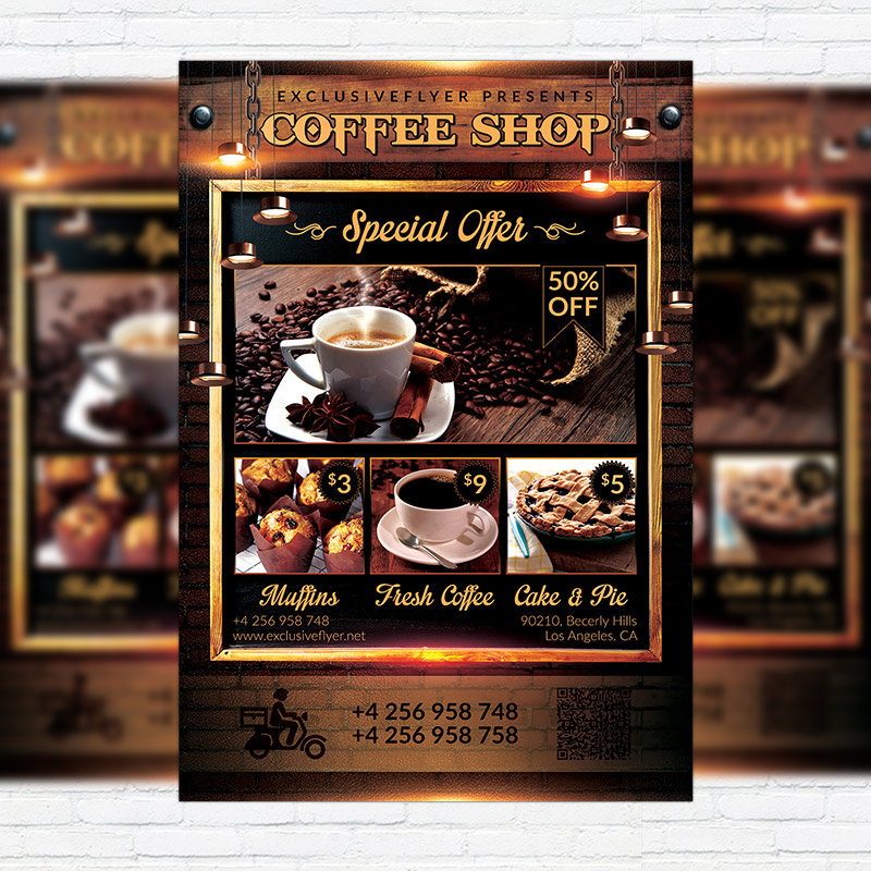 Coffee Shop  Premium Flyer Template  Facebook Cover