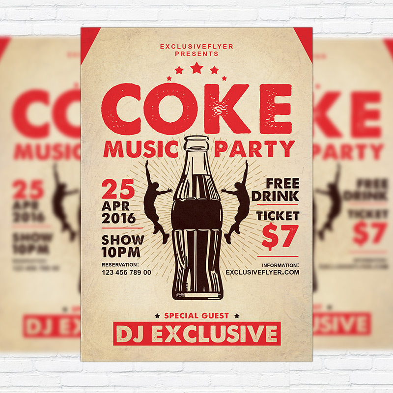 Coke Music Party – Premium Flyer Template + Facebook Cover ...