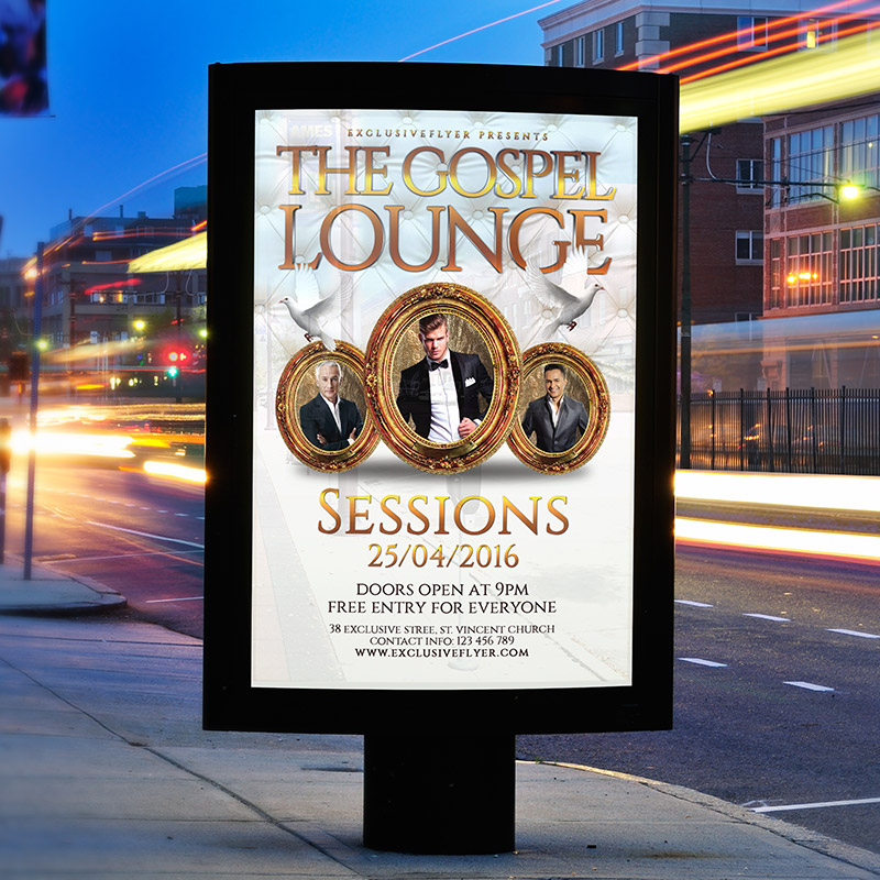 The Gospel Lounge – Premium Flyer Template + Facebook Cover