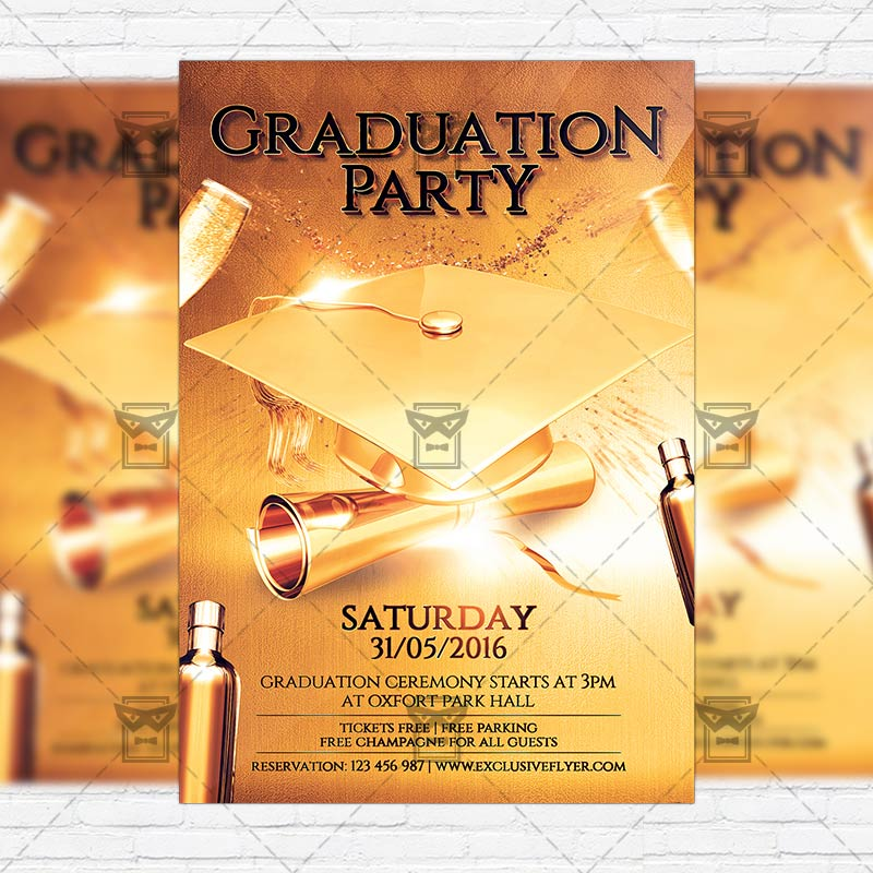 Graduation Party – Premium Flyer Template + Facebook Cover