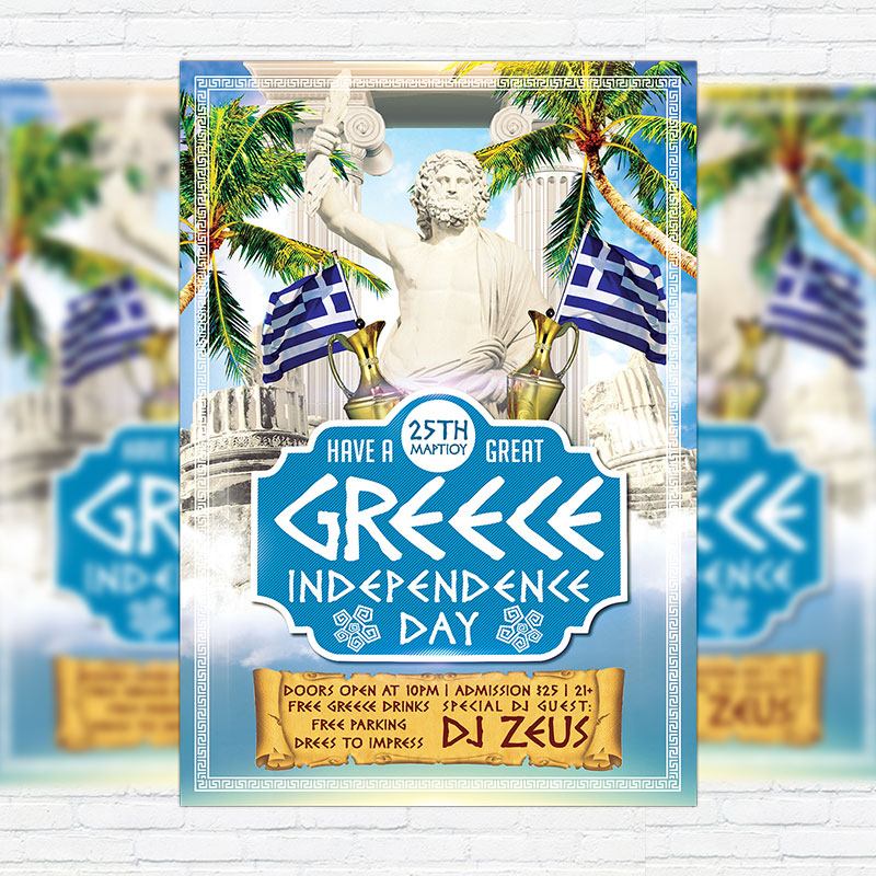 Greece Independence Day – Premium Flyer Template + Facebook Cover