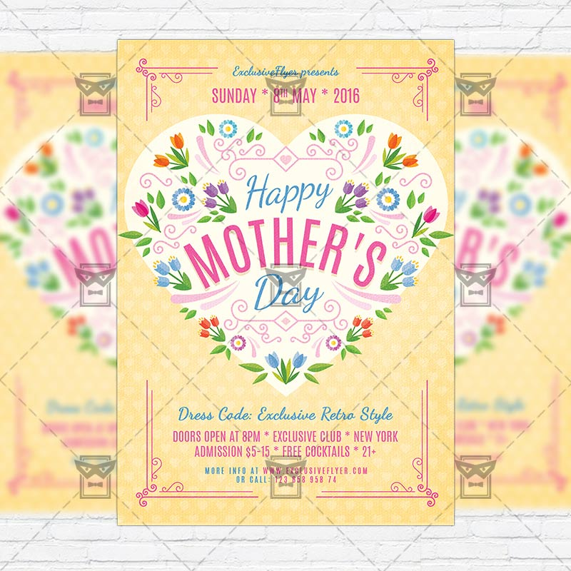 happy mothers day premium flyer template facebook cover