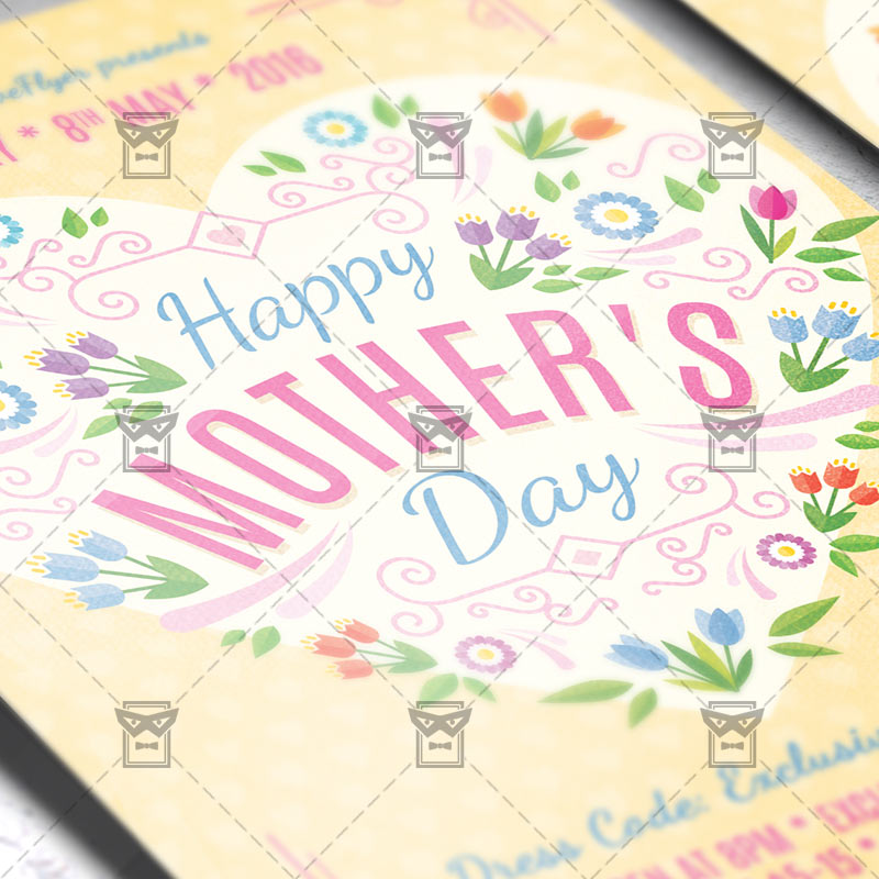 Mothers Day Sale Flyer Psd Template: Premium Flyer Template + Facebook