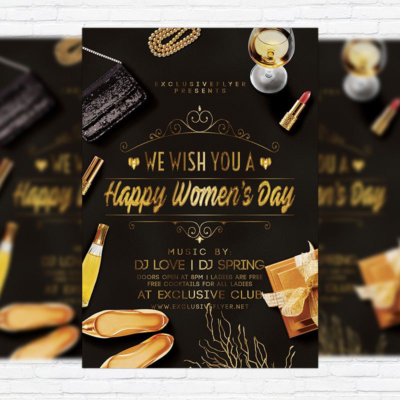 Happy Womens Day Premium Flyer Template Facebook Cover