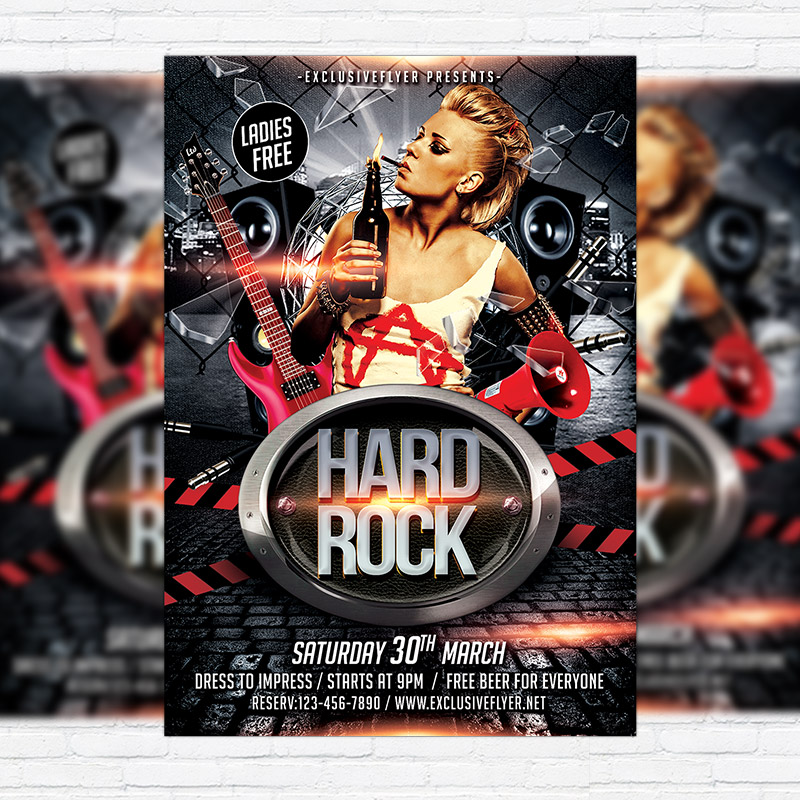 Hard Rock Party Premium Flyer Template Facebook Cover