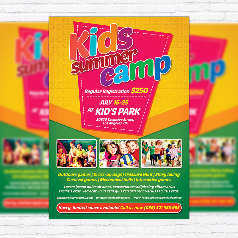 Kids Summer Camp  Premium Flyer Template  Facebook Cover