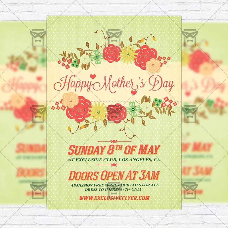 Mom Day Sale Ͽ� Seasonal A5 Flyer Template: Premium Flyer Template + Facebook Cover