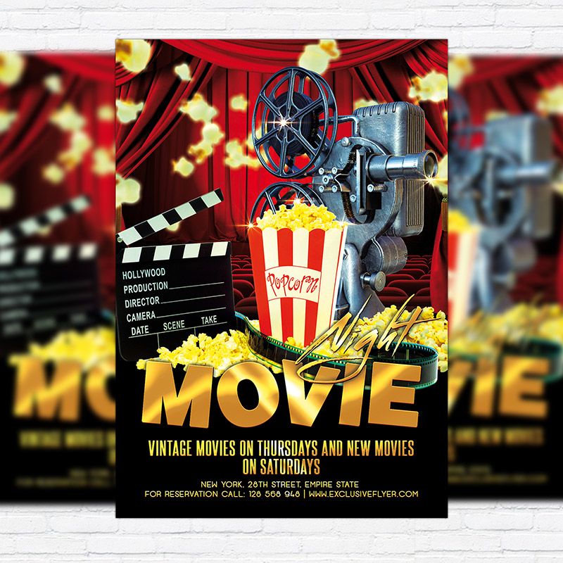 Movie Night Premium Flyer Template Facebook Cover .
