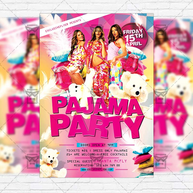 pajama party premium flyer template facebook cover
