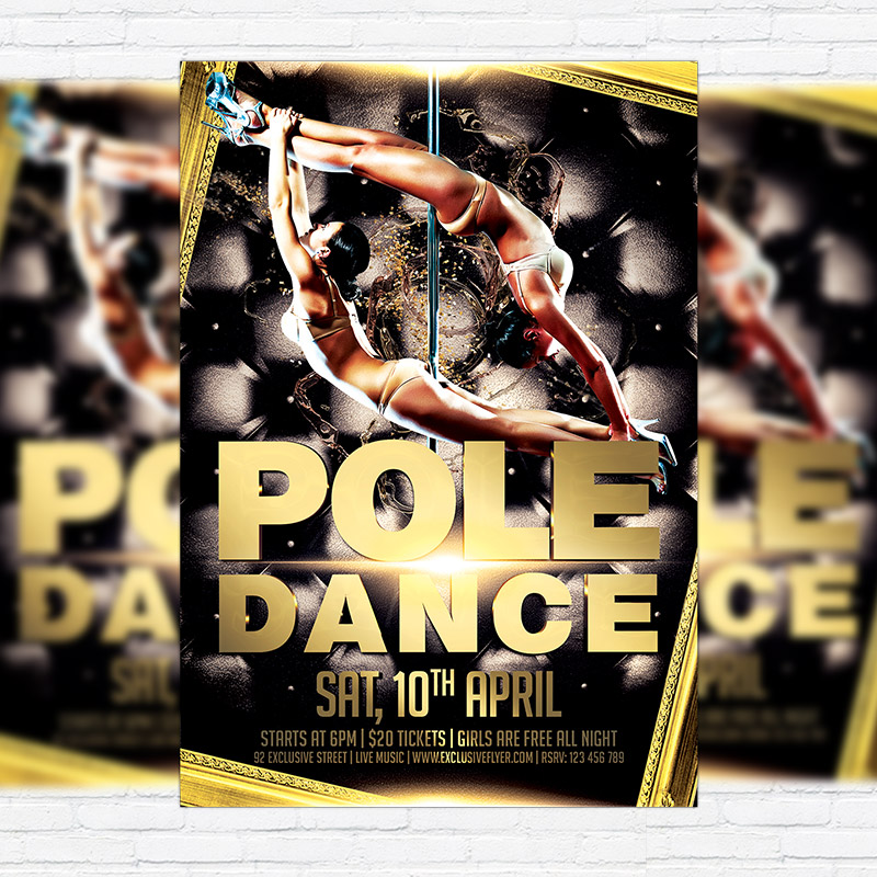 Pole Dance Night Premium Flyer Template Facebook Cover