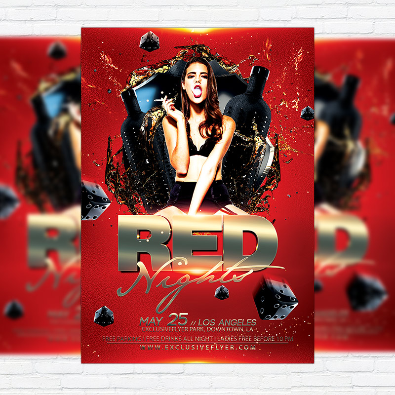 Red Night  Premium Flyer Template  Facebook Cover  Exclsiveflyer