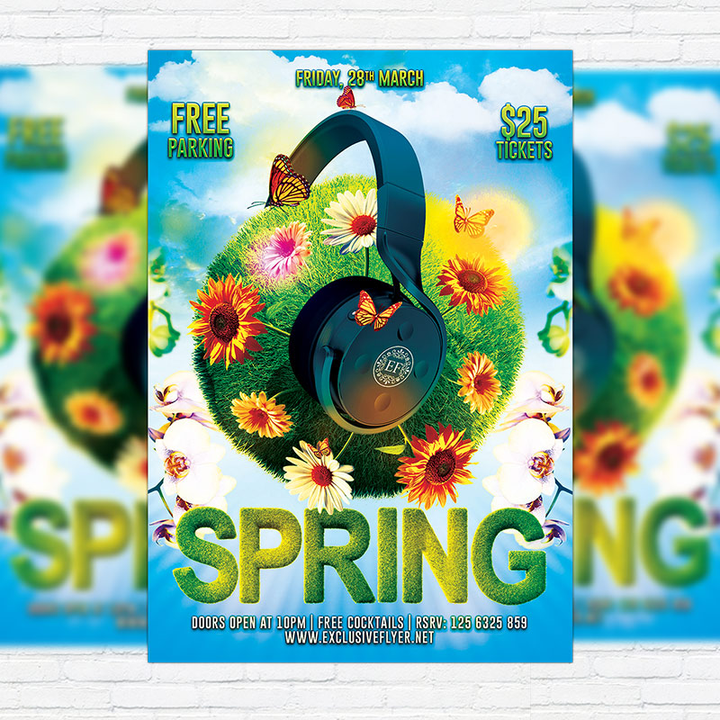 Spring Break Party  Premium Flyer Template  Facebook Cover