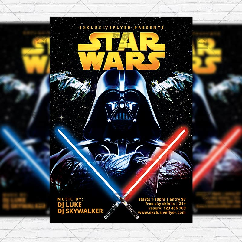 Star Wars Free Club And Party Flyer Psd Template Exclsiveflyer
