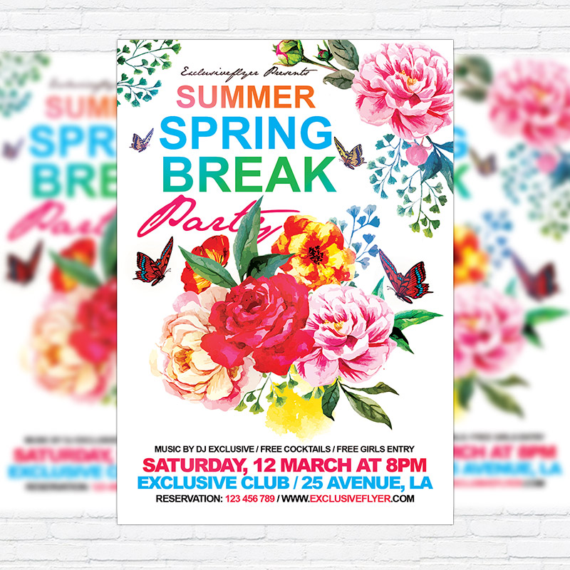 Summer Spring Break Party  Premium Flyer Template  Facebook Cover