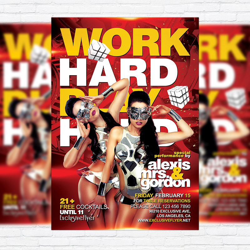 work hard play hard premium flyer template facebook cover