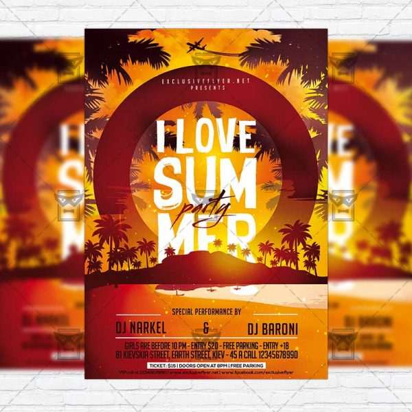 I Love Summer Party - Premium Flyer Template + Facebook Cover-1