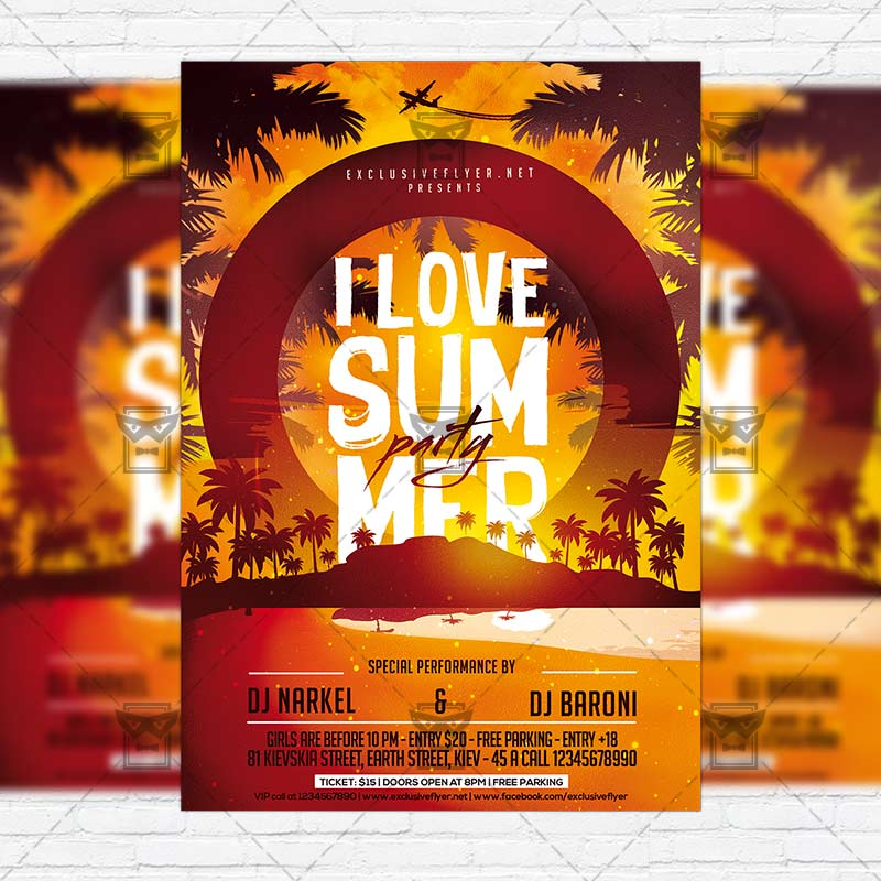 I Love Summer Party  Premium Flyer Template  Facebook Cover