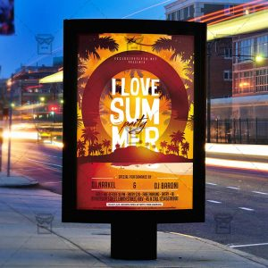 I Love Summer Party - Premium Flyer Template + Facebook Cover-2