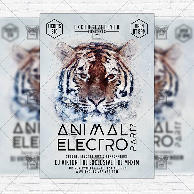Animal Electro Party  Premium Flyer Template  Instagram Size