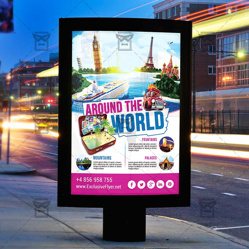 Around The World Premium Flyer Template Exclsiveflyer Free And