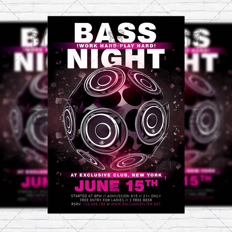bass night premium flyer template instagram size flyer exclsiveflyer free and premium. Black Bedroom Furniture Sets. Home Design Ideas