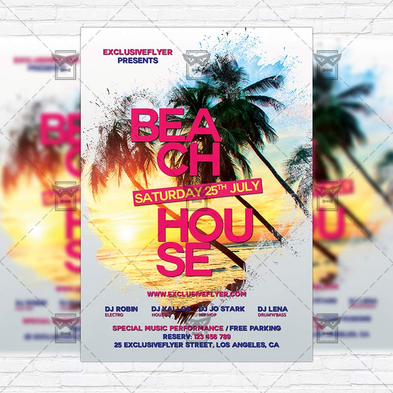 beach house party premium flyer template instagram size flyer exclsiveflyer free and. Black Bedroom Furniture Sets. Home Design Ideas
