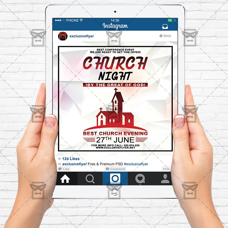 Church Night – Premium Flyer Template + Instagram Size Flyer