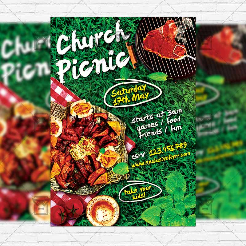 Church Picnic – Premium Flyer Template + Instagram Size Flyer