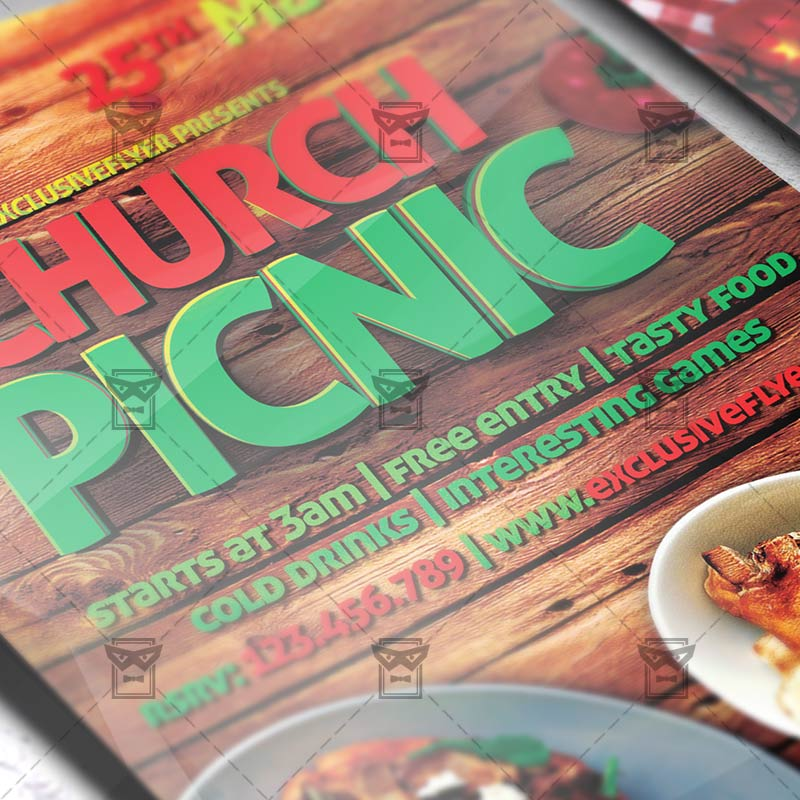 Church Picnic-2 – Premium Flyer Template + Instagram Size Flyer