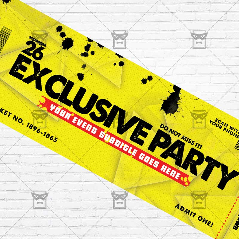 ... Exclusive Party   Premium PSD Ticket Template 2 ...  Party Ticket Template