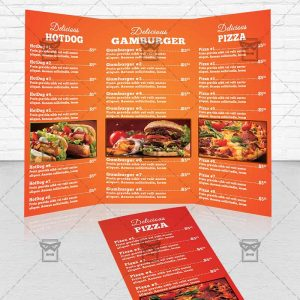 Pizza opening day premium a5 flyer template for Premium brochure templates