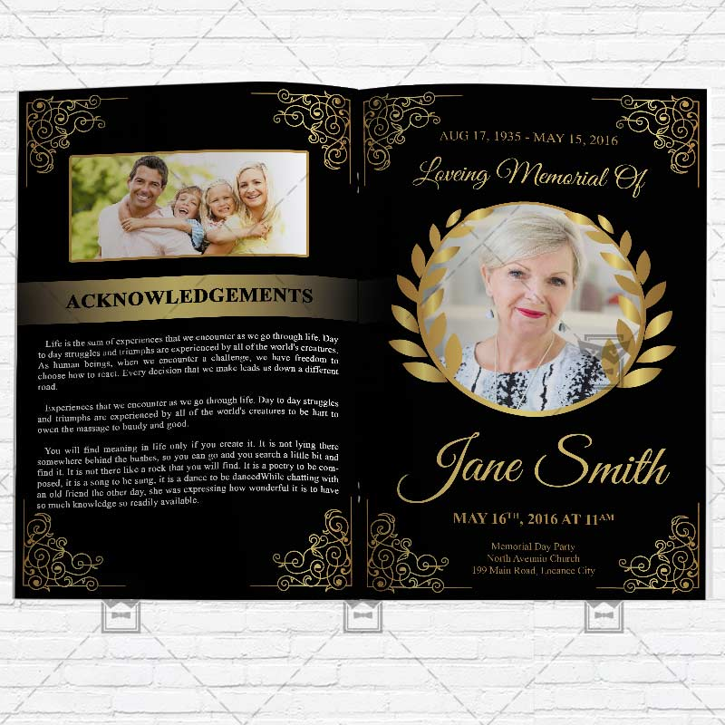 Funeral Program Vol3 Premium Bi Fold Brochure Template – Funeral Flyer Template