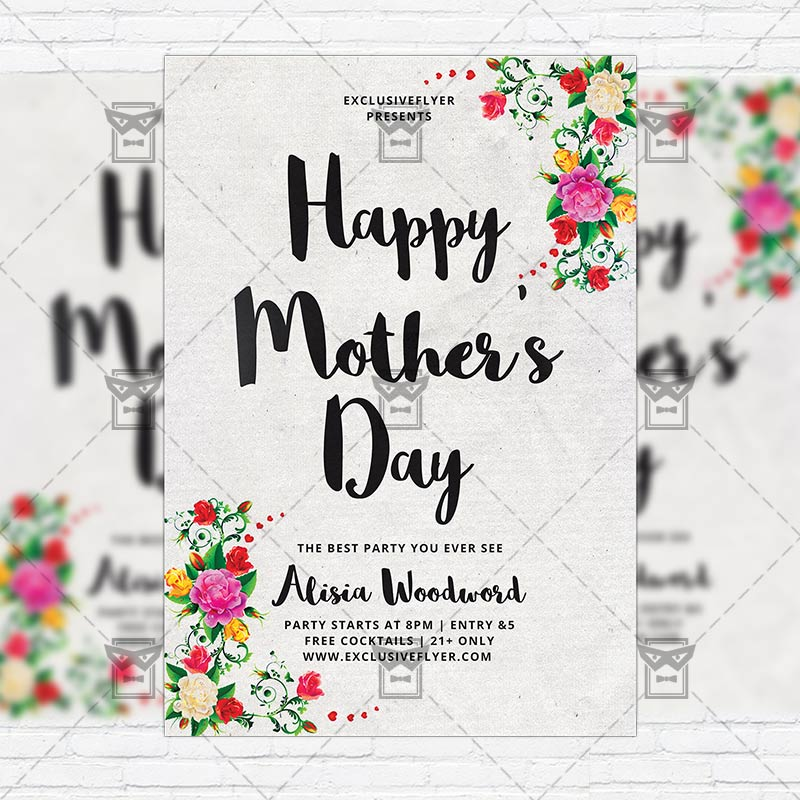 I Love You Mom Happy Mothers Day Flyer Template Psd Free: Premium Flyer Template + Instagram