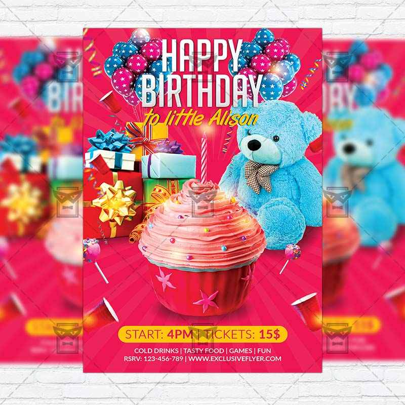 Kids Birthday Party Premium Flyer Template Instagram Size Flyer