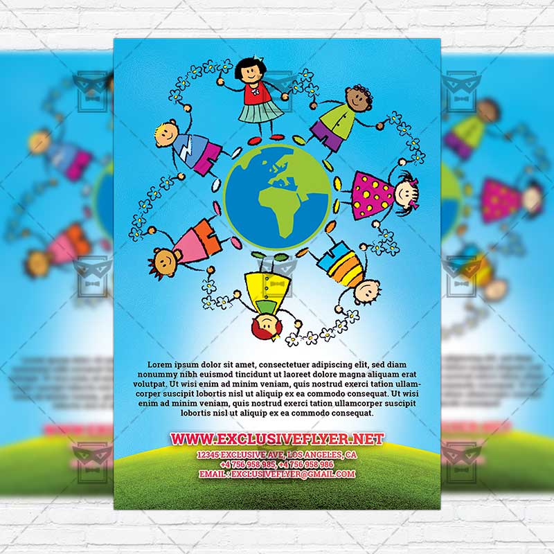 Childrens Day Party Two Sided Premium Flyer Template