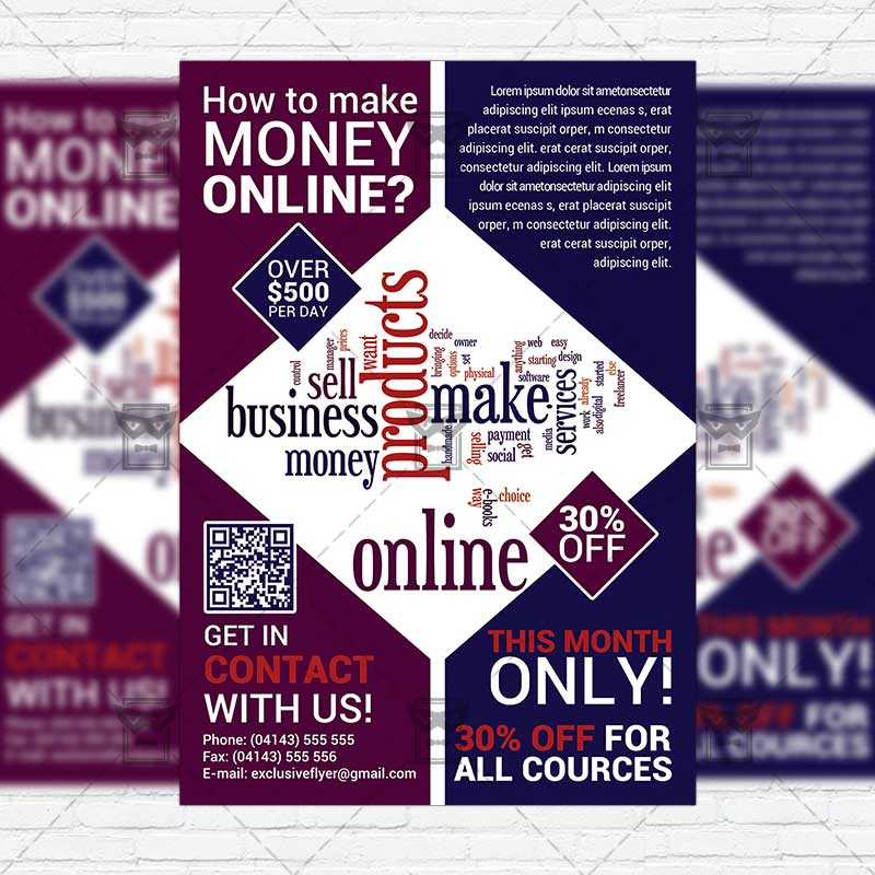 make money online premium flyer template exclsiveflyer free