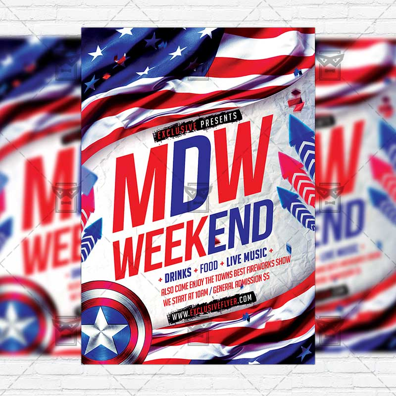 Memorial Day Weekend  Premium Flyer Template  Instagram Size Flyer