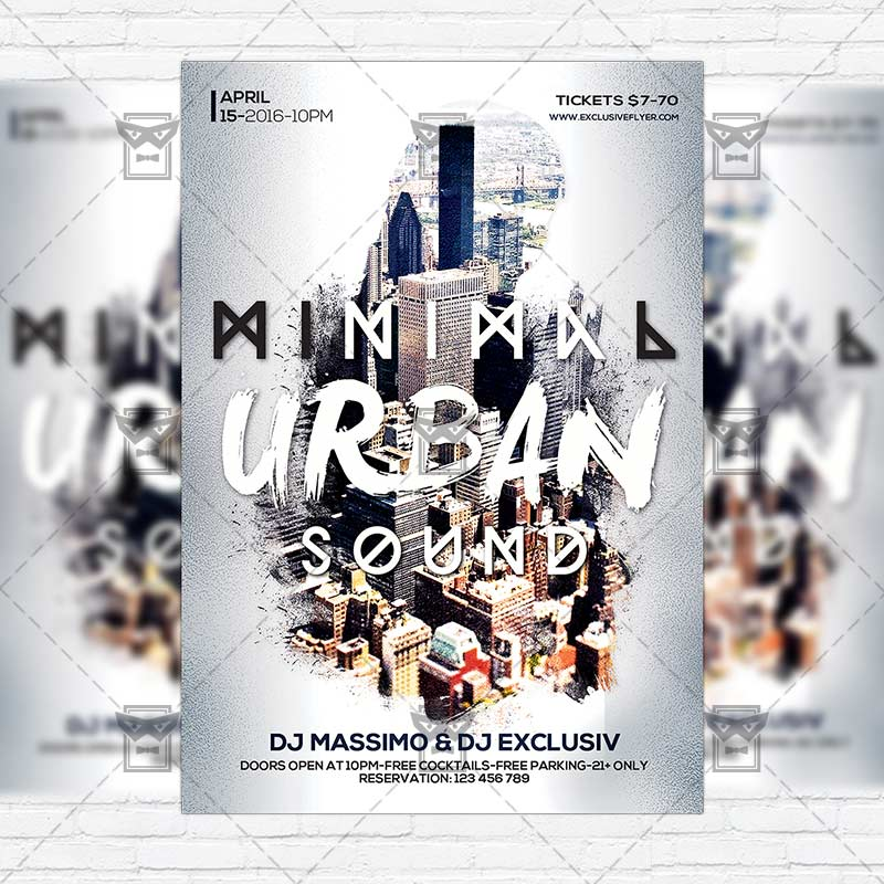 Minimal Urban Sound – Premium Flyer Template + Facebook Cover ...