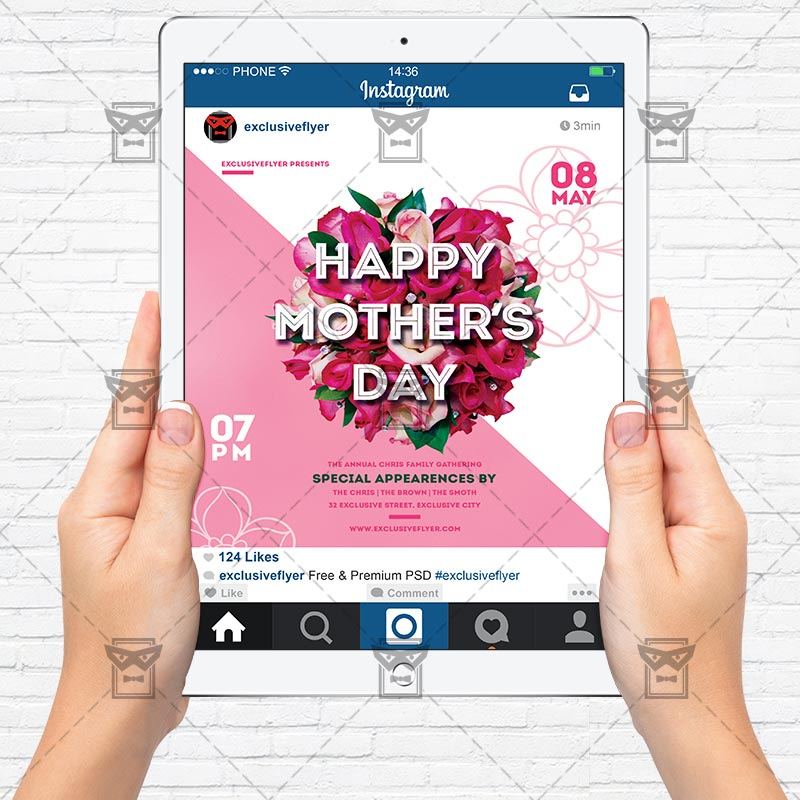 Free Mothers Day Psd Flyer Template: Premium Flyer Template + Instagram Size