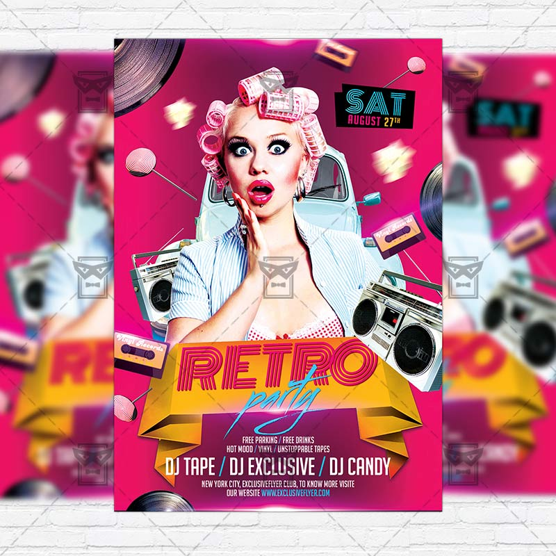 Retro Party  Premium Flyer Template  Instagram Size Flyer