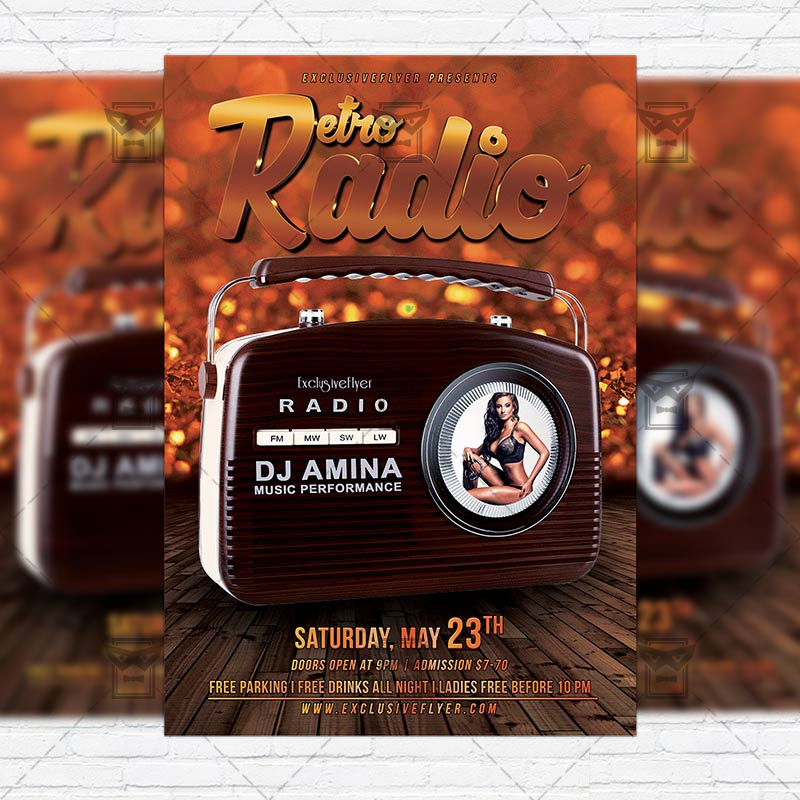 Retro Radio Event  Premium Flyer Template  Instagram Size Flyer