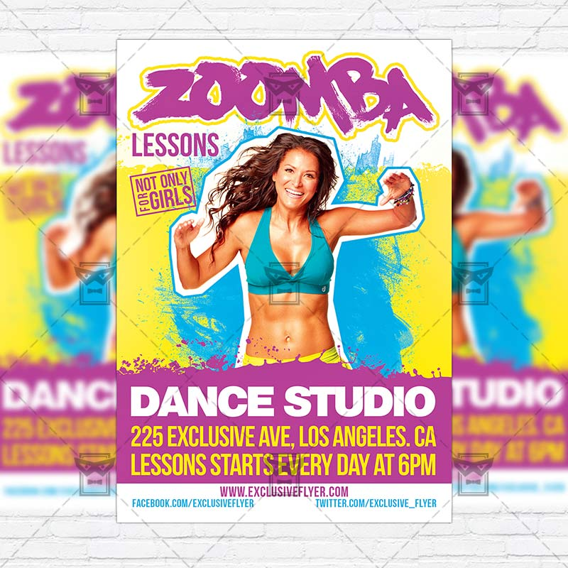 Zoomba Lessons – Premium Flyer Template + Instagram Size Flyer ...