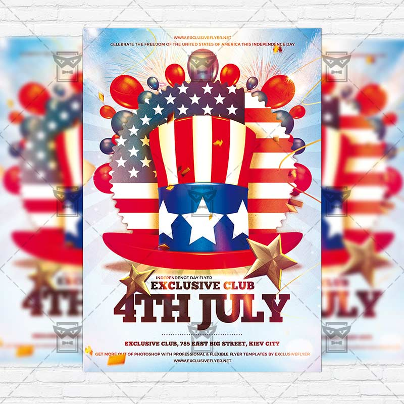 4th of july premium flyer template instagram size flyer 1