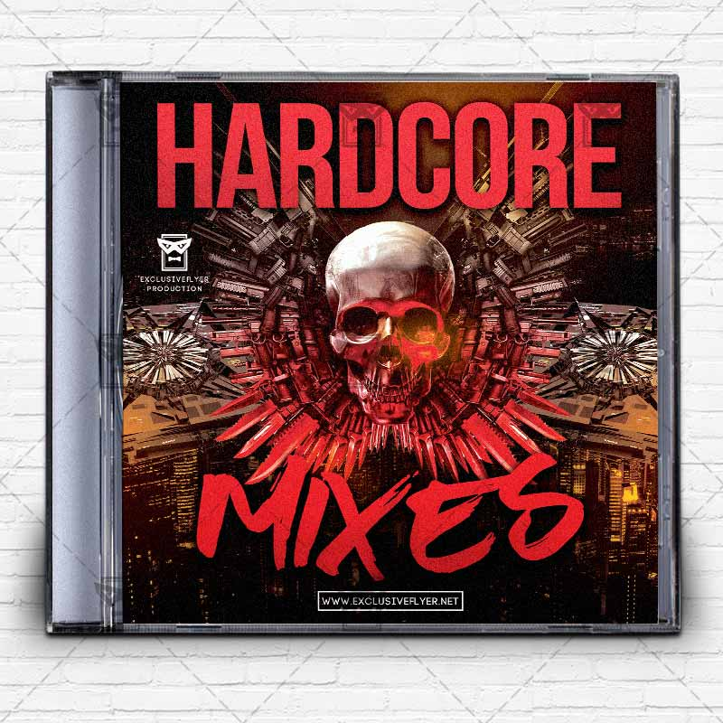 Hardcore Music  Premium Mixtape Album Cd Cover Template